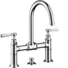 Chrome Montreux Widespread Faucet with Lever Handles, Bridge Model