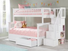 Columbia Staircase Bunk Bed Twin over Full with Raised Panel Bed Drawers in White
