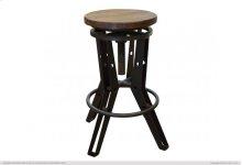 """24"""" - 30"""" Adjustable Height Iron Stool w/ wooden seat"""