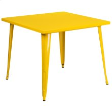 35.5'' Square Yellow Metal Indoor-Outdoor Table
