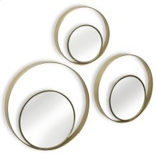Set of 3 Metal Wall Mirrors  8in 10in & 12 in diameter