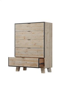 5 Drawer Chest-sandstone Finish W/graphite Metal Trim