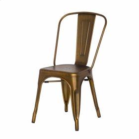 Metropolis Metal Side Chair, Brushed Copper