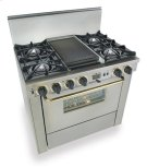 """36"""" Dual Fuel, Convect, Self-Clean, Open Burners, Stainless Steel with Bras Product Image"""