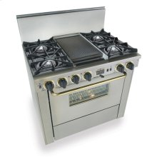 """36"""" Dual Fuel, Convect, Self-Clean, Open Burners, Stainless Steel with Bras"""