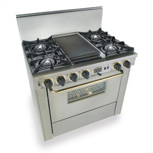 "Five Star36"" Dual Fuel, Convect, Self-Clean, Open Burners, Stainless Steel with Bras"