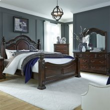 Queen Poster Bed, Dresser & Mirror, Chest