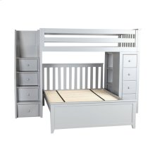All in One Staircase Loft Bed Storage   Full Bed Grey