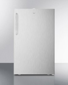 """ADA Compliant 20"""" Wide Built-in Undercounter All-refrigerator for General Purpose Use, Auto Defrost With Lock and Stainless Steel Exterior"""