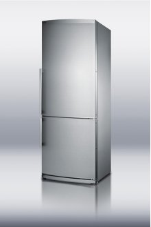Counter depth bottom freezer refrigerator with large capacity, deluxe interior, and stainless steel doors