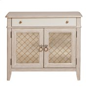 Reece Mirrored Two Door Media Cabinet in Distressed Cream / White Product Image