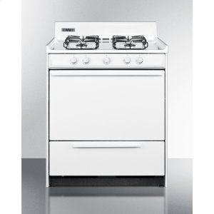 """Summit30"""" Wide Gas Range In White With Sealed Burners and Electronic Ignition; Replaces Wnm2107f"""