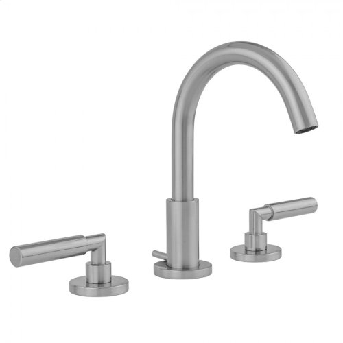 Unlacquered Brass - Uptown Contempo Faucet with Round Escutcheons & Contempo Slim Lever Handles & Fully Polished & Plated Pop-Up Drain