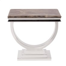 Stainless Steel Side Table with Stone Top with Faux Marble Finish