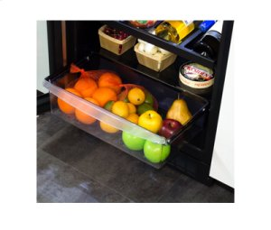 """24"""" Beverage Refrigerator with Drawer - Panel Overlay Frame Glass Door - Integrated Right Hinge"""