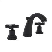 Matte Black Lombardia C-Spout Widespread Lavatory Faucet with Cross Handle