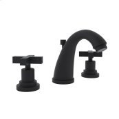 Matte Black Lombardia C-Spout Widespread Lavatory Faucet with Cross Handle