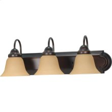 3-Light Wall Mounted Vanity Light Bar in Mahogany Bronze Finish with Champagne Linen Glass