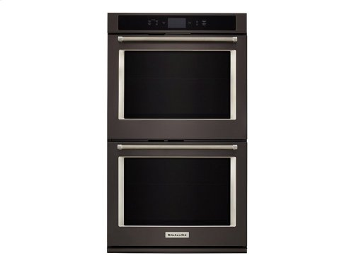 """Smart Oven+ 30"""" Double Oven with Powered Attachments and PrintShield Finish - Black Stainless"""
