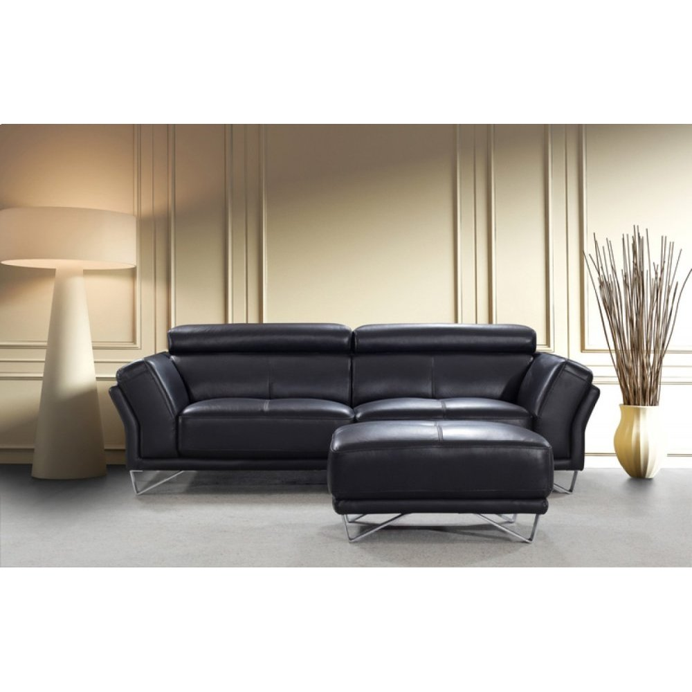 Divani Casa 0831 Modern Black Leather Sofa Set