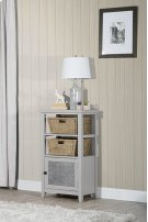 Tuscan Retreat® Basket Stand With Metal Front and Two Baskets - Taupe Product Image