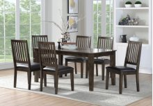 7 PC Set-rectangular Dining Table & 6 Side Chairs (7pcs/ctn) Birch Veneer-cherry Finish