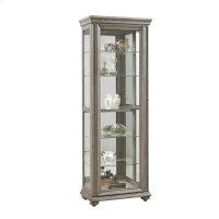 Sliding Framed 5 Shelf Curio Cabinet in Grey Product Image