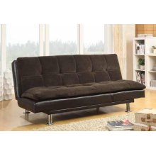 Contemporary Overstuffed Brown and Chrome Sofa Bed