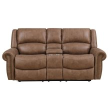 Emerald Home Spencer Motion Console Loveseat Brown U7122-09-05
