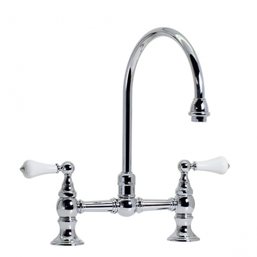 Highlands   Hi Rise Exposed Gooseneck Kitchen Faucet   Unlacquered Brass
