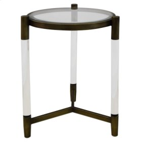 Amaris Acrylic End Table Glass Top, Transparent/Brushed Brass