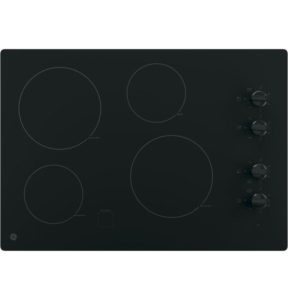"GE(R) 30"" Built-In Knob Control Electric Cooktop  BLACK"
