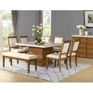 Steve Silver Co.Palmer 8 Piece Marble Top Set(Table, Bench &6 Side Chairs)