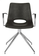 Dawn Midcentury Modern Leather Swivel Dining Arm Chair - Grey / Silver Product Image