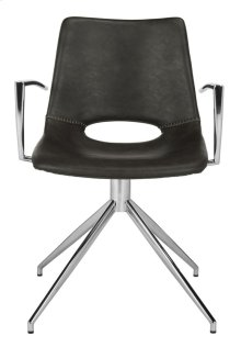 Dawn Midcentury Modern Leather Swivel Dining Arm Chair - Grey / Silver