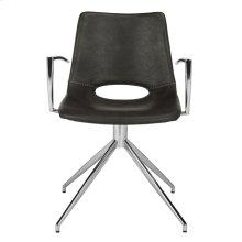 Dawn Midcentury Modern Leather Swivel Dining Arm Chair - Grey / Silver
