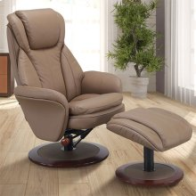 Norway Recliner and Ottoman in Sand Leather