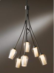 "Flora; Chandelier: Flora with six arms and glass options; includes 5"" dia. canopy kit with 15' wire and 3' chain."