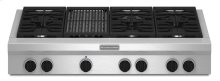 48-Inch 6 Burner with Grill, Gas Rangetop, Commercial-Style - Stainless Steel
