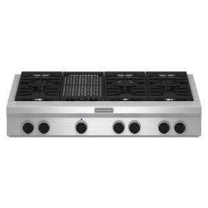 Kitchenaid 48-Inch 6 Burner With Grill, Gas Rangetop, Commercial-Style - Stainless Steel