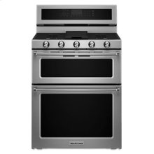 Floor Model - 30-Inch 5 Burner Gas Double Oven Convection Range - Stainless Steel