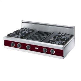 "Burgundy 42"" Open Burner Rangetop - VGRT (42"" wide, four burners 12"" wide char-grill)"