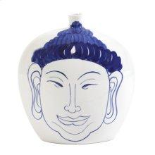 Blue and White Ceramic Buddha Vase, Large