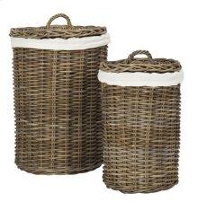 Millen Rattan Round Set of 2 Laundry Baskets - Natural
