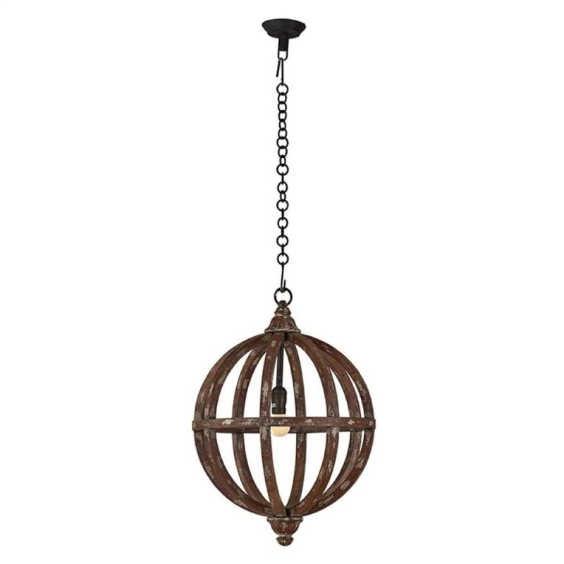 Solid wood industrial medium sized orb chandelier
