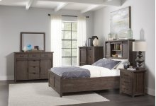 Madison County 4 PC Queen Barn Door Bedroom: Bed, Dresser, Mirror, Nightstand - Barnwood