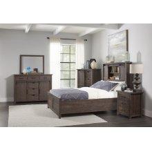 Madison County 5 PC Queen Barn Door Bedroom: Bed, Dresser, Mirror, Nightstand, Chest - Barnwood