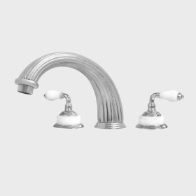 3200 Series Roman Tub Set with Venezia Handle shown with White Carrara Marble (available as trim only P/N: 1.322577T)