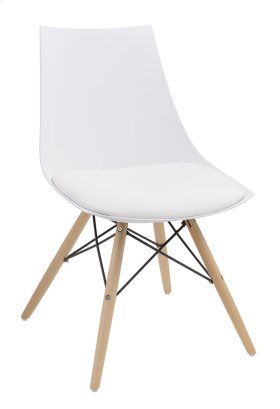 Annette - Dining Chair White Pu Seat-wood Leg Base