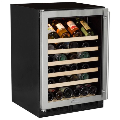 "24"" Single Zone Wine Cellar - Stainless Steel Frame Glass Door* - Right Hinge, Stainless Designer Handle"